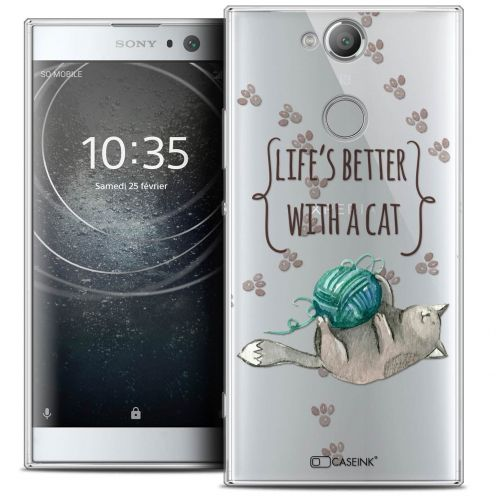 """Coque Crystal Gel Sony Xperia XA2 (5.2"""") Extra Fine Quote - Life's Better With a Cat"""