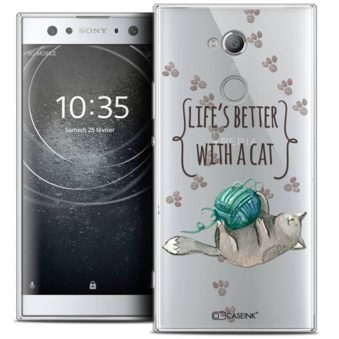 "Extra Slim Crystal Gel Sony Xperia XA2 ULTRA (6"") Case Quote Life's Better With a Cat"