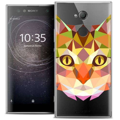 "Coque Crystal Gel Sony Xperia XA2 ULTRA (6"") Extra Fine Polygon Animals - Chat"