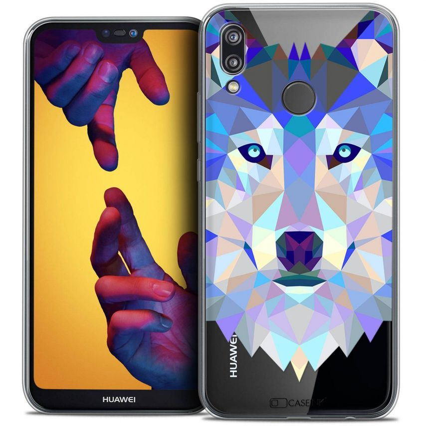 """Coque Crystal Gel Huawei P20 LITE (5.84"""") Extra Fine Polygon Animals - Loup"""