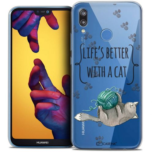 "Coque Crystal Gel Huawei P20 LITE (5.84"") Extra Fine Quote - Life's Better With a Cat"