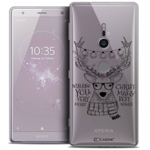 "Coque Crystal Gel Sony Xperia XZ2 (5.7"") Extra Fine Noël 2017 - Cerf Hipster"
