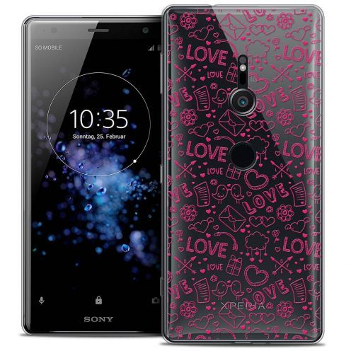 "Extra Slim Crystal Gel Sony Xperia XZ2 (5.7"") Case Love Doodle"