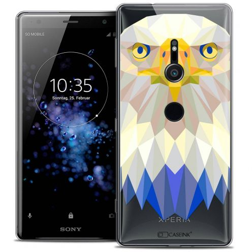 "Extra Slim Crystal Gel Sony Xperia XZ2 (5.7"") Case Polygon Animals Eagle"