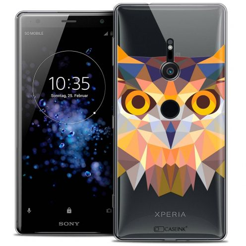 "Extra Slim Crystal Gel Sony Xperia XZ2 (5.7"") Case Polygon Animals Owl"