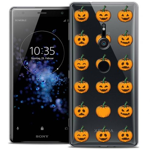 "Extra Slim Crystal Gel Sony Xperia XZ2 (5.7"") Case Halloween Smiley Citrouille"