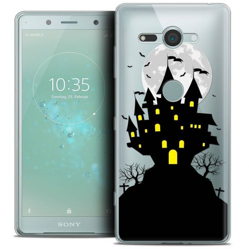 "Extra Slim Crystal Gel Sony Xperia XZ2 Compact (5.0"") Case Halloween Castle Scream"