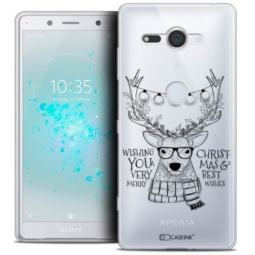"""Extra Slim Crystal Gel Sony Xperia XZ2 Compact (5.0"""") Case Noël 2017 Cerf Hipster"""