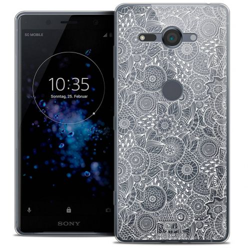 """Extra Slim Crystal Gel Sony Xperia XZ2 Compact (5.0"""") Case Dentelle Florale Blanc"""