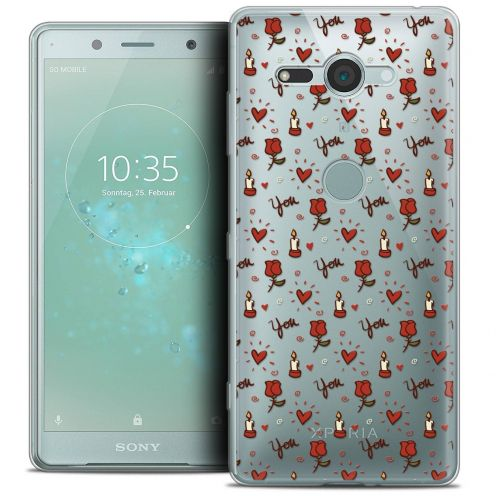 """Extra Slim Crystal Gel Sony Xperia XZ2 Compact (5.0"""") Case Love Bougies et Roses"""