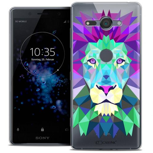 "Coque Crystal Gel Sony Xperia XZ2 Compact (5.0"") Extra Fine Polygon Animals - Lion"