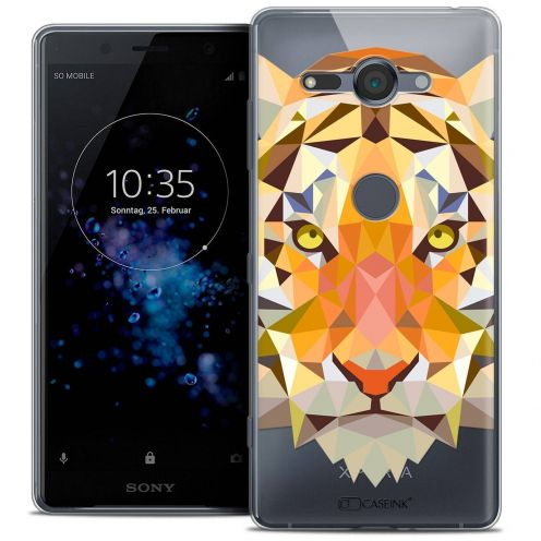"Coque Crystal Gel Sony Xperia XZ2 Compact (5.0"") Extra Fine Polygon Animals - Tigre"