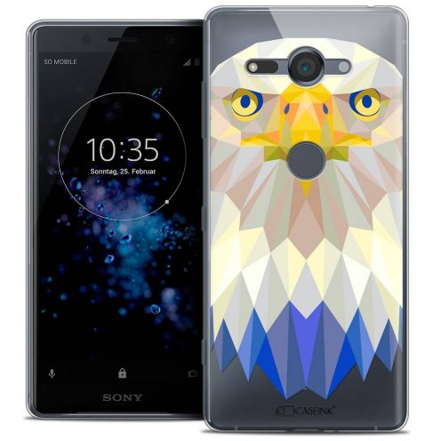"Extra Slim Crystal Gel Sony Xperia XZ2 Compact (5.0"") Case Polygon Animals Eagle"