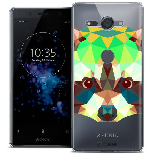 "Coque Crystal Gel Sony Xperia XZ2 Compact (5.0"") Extra Fine Polygon Animals - Raton Laveur"