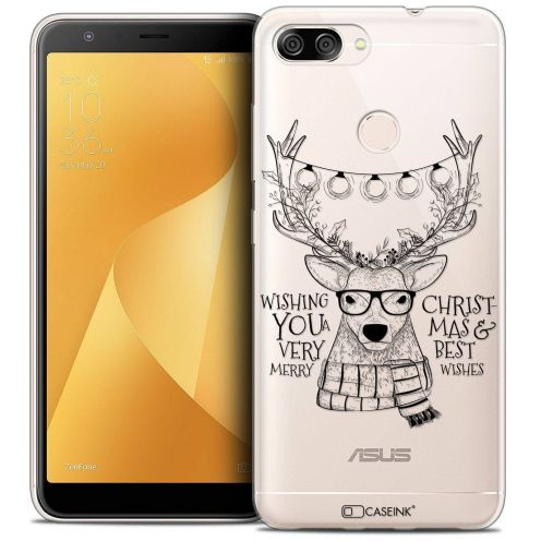 """Coque Crystal Gel Asus Zenfone Max Plus (M1) ZB570TL (5.7"""") Extra Fine Noël 2017 - Cerf Hipster"""