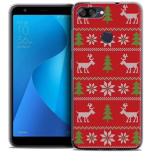 """Coque Crystal Gel Asus Zenfone Max Plus (M1) ZB570TL (5.7"""") Extra Fine Noël 2017 - Couture Rouge"""