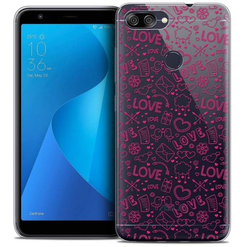 "Extra Slim Crystal Gel Asus Zenfone Max Plus (M1) ZB570TL (5.7"") Case Love Doodle"