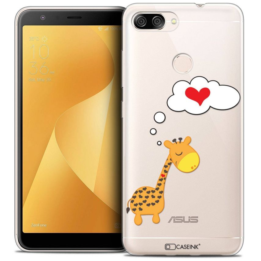 """Coque Crystal Gel Asus Zenfone Max Plus (M1) ZB570TL (5.7"""") Extra Fine Love - Girafe Amoureuse"""