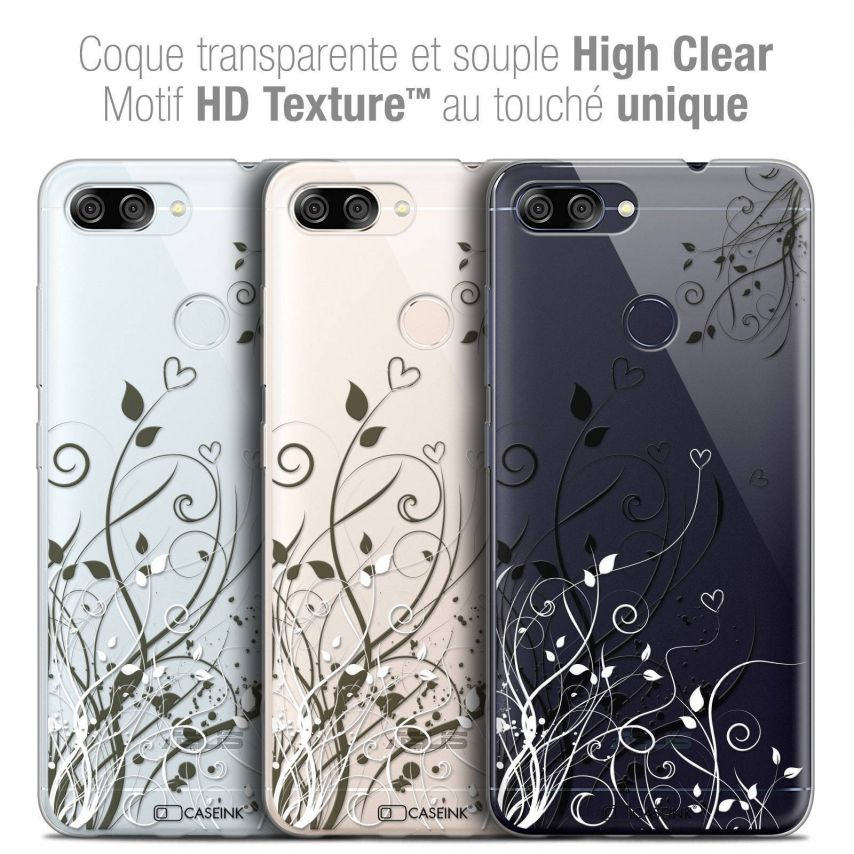 "Coque Crystal Gel Asus Zenfone Max Plus (M1) ZB570TL (5.7"") Extra Fine Love - Hearts Flowers"