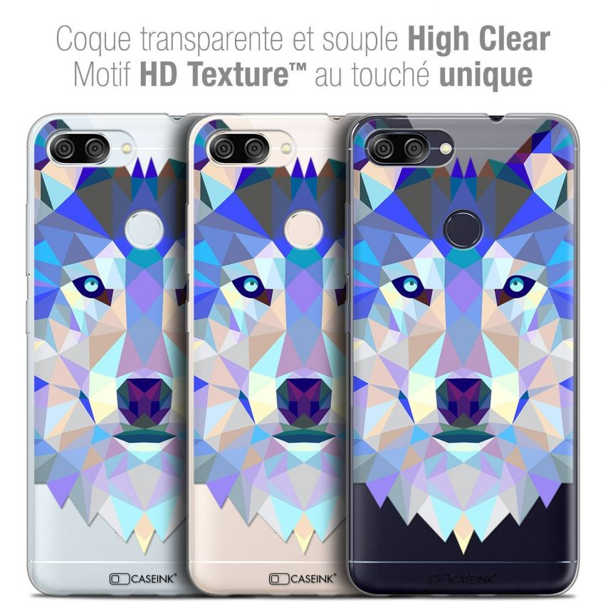 "Coque Crystal Gel Asus Zenfone Max Plus (M1) ZB570TL (5.7"") Extra Fine Polygon Animals - Loup"