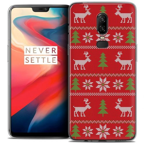 """Coque Crystal Gel OnePlus 6 (6.28"""") Extra Fine Noël 2017 - Couture Rouge"""