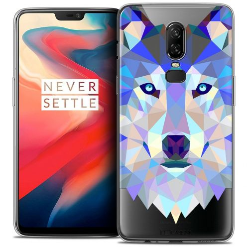 """Coque Crystal Gel OnePlus 6 (6.28"""") Extra Fine Polygon Animals - Loup"""