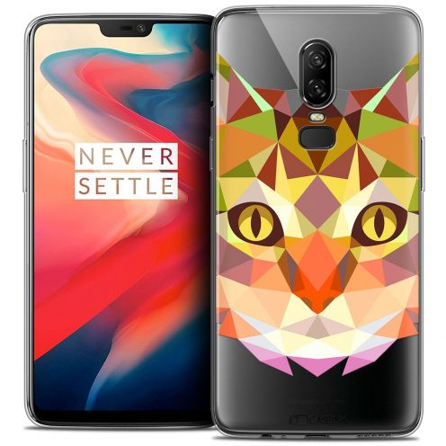 """Coque Crystal Gel OnePlus 6 (6.28"""") Extra Fine Polygon Animals - Chat"""