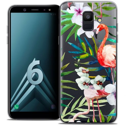 "Coque Crystal Gel Samsung Galaxy A6 2018 (5.45"") Extra Fine Watercolor - Tropical Flamingo"