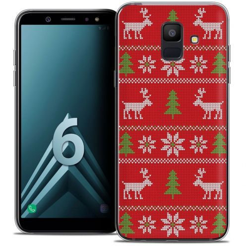 "Coque Crystal Gel Samsung Galaxy A6 2018 (5.45"") Extra Fine Noël 2017 - Couture Rouge"