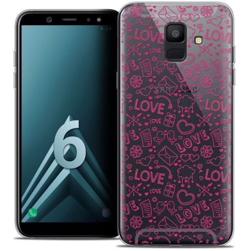 "Coque Crystal Gel Samsung Galaxy A6 2018 (5.45"") Extra Fine Love - Doodle"