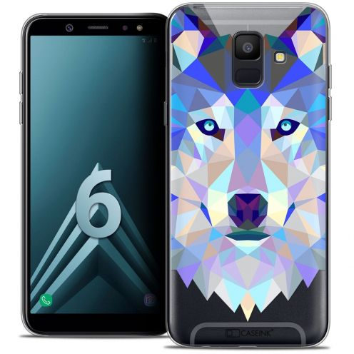 "Coque Crystal Gel Samsung Galaxy A6 2018 (5.45"") Extra Fine Polygon Animals - Loup"