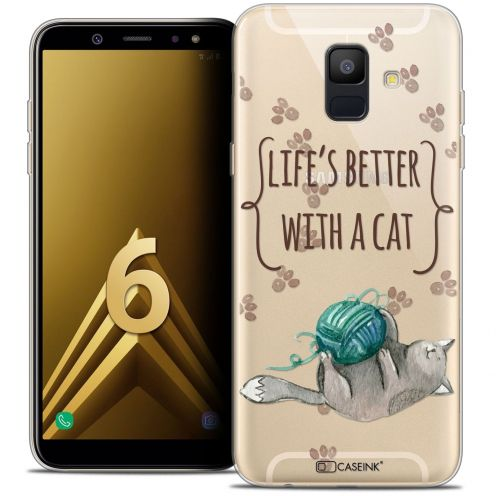 "Coque Crystal Gel Samsung Galaxy A6 2018 (5.45"") Extra Fine Quote - Life's Better With a Cat"