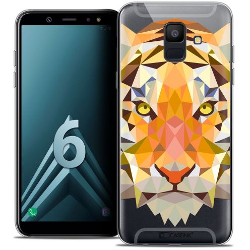 "Coque Crystal Gel Samsung Galaxy A6 2018 (5.45"") Extra Fine Polygon Animals - Tigre"
