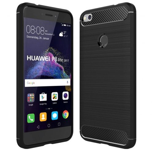 "Coque Huawei P8 LITE 2017 (5.2"") Hybrid Series Carbon Brush Noir"