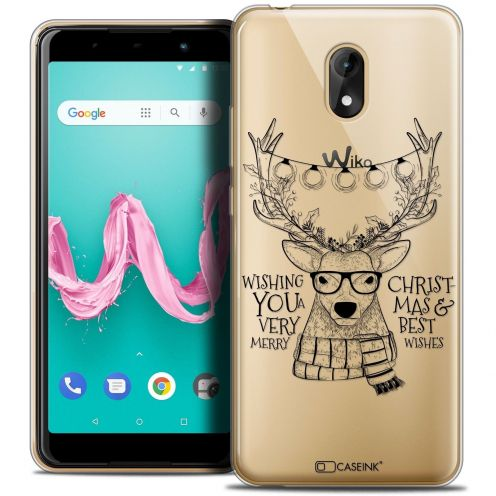 """Coque Crystal Gel Wiko Lenny 5 (5.7"""") Extra Fine Noël 2017 - Cerf Hipster"""