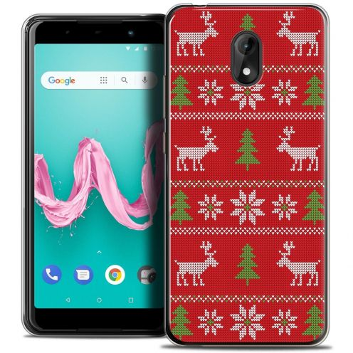 "Extra Slim Crystal Gel Wiko Lenny 5 (5.7"") Case Noël 2017 Couture Rouge"