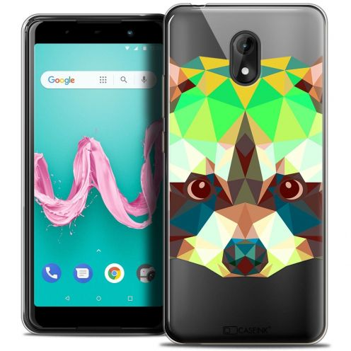 "Coque Crystal Gel Wiko Lenny 5 (5.7"") Extra Fine Polygon Animals - Raton Laveur"
