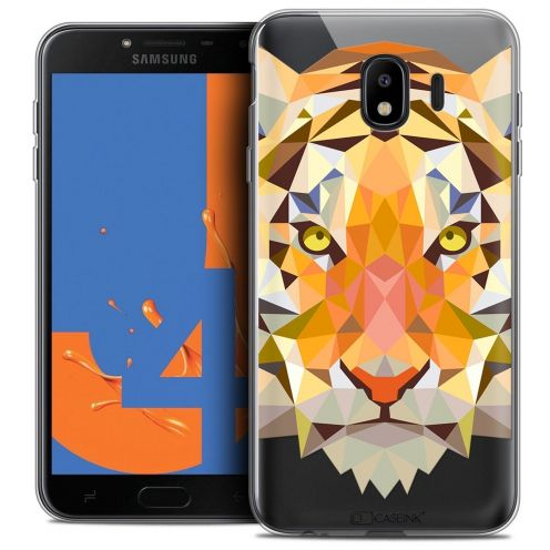 "Extra Slim Crystal Gel Samsung Galaxy J4 2018 J400 (5.5"") Case Polygon Animals Tiger"