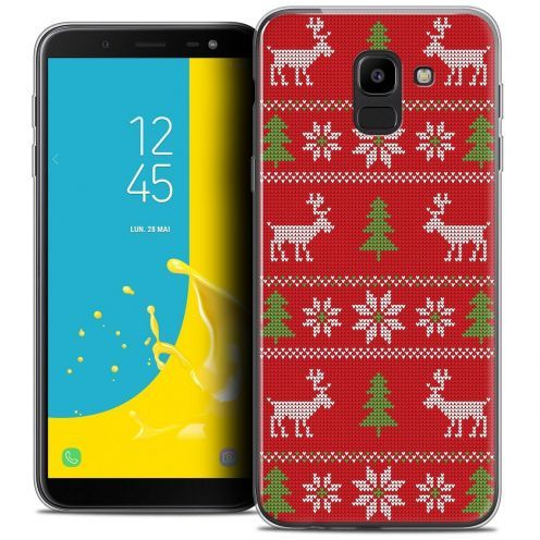 "Coque Crystal Gel Samsung Galaxy J6 2018 J600 (5.6"") Extra Fine Noël 2017 - Couture Rouge"