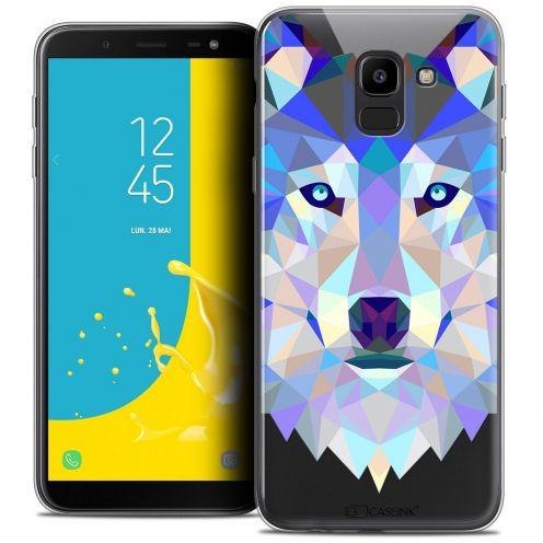 "Coque Crystal Gel Samsung Galaxy J6 2018 J600 (5.6"") Extra Fine Polygon Animals - Loup"