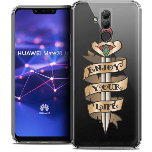 "Extra Slim Crystal Gel Huawei Mate 20 Lite (6.3"") Case Tatoo Lover Enjoy Life"