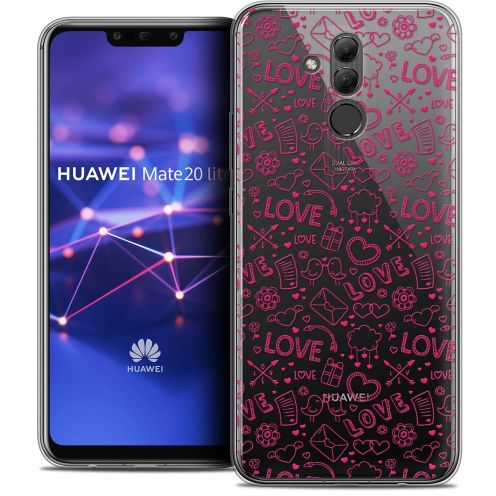 """Coque Crystal Gel Huawei Mate 20 Lite (6.3"""") Extra Fine Love - Doodle"""