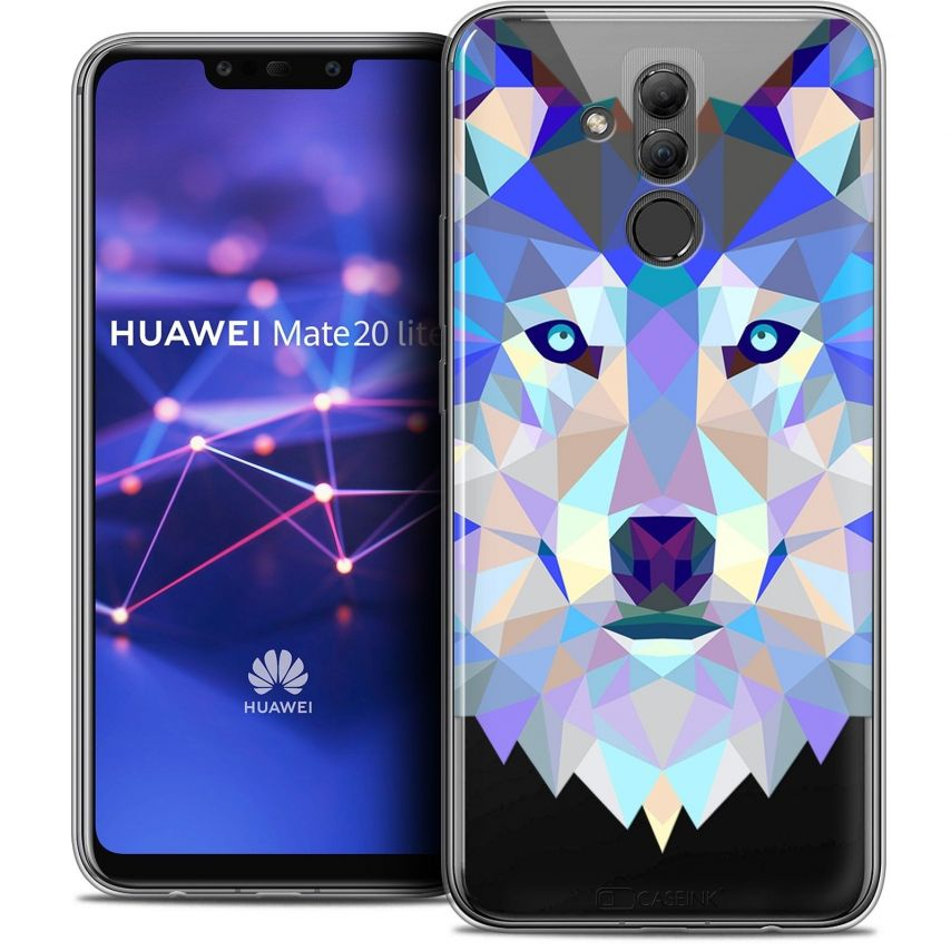 """Coque Crystal Gel Huawei Mate 20 Lite (6.3"""") Extra Fine Polygon Animals - Loup"""