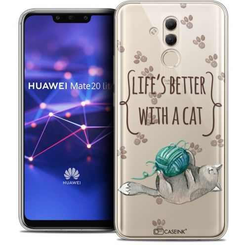 "Extra Slim Crystal Gel Huawei Mate 20 Lite (6.3"") Case Quote Life's Better With a Cat"