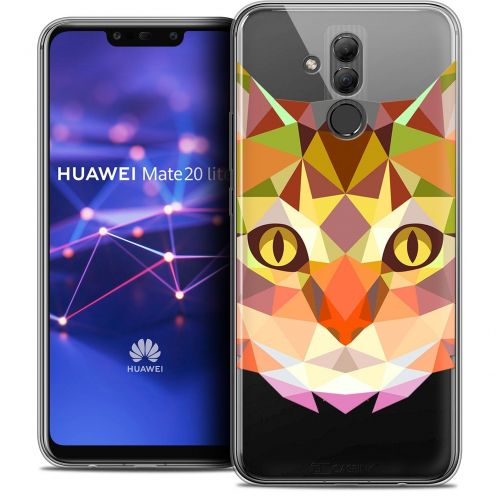 """Coque Crystal Gel Huawei Mate 20 Lite (6.3"""") Extra Fine Polygon Animals - Chat"""