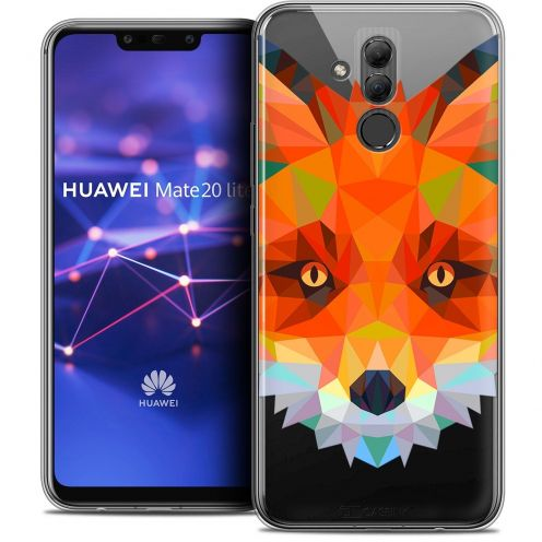 "Extra Slim Crystal Gel Huawei Mate 20 Lite (6.3"") Case Polygon Animals Fox"