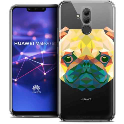 "Extra Slim Crystal Gel Huawei Mate 20 Lite (6.3"") Case Polygon Animals Dog"