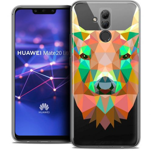 "Extra Slim Crystal Gel Huawei Mate 20 Lite (6.3"") Case Polygon Animals Deer"