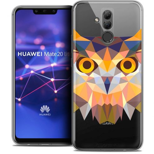 "Coque Crystal Gel Huawei Mate 20 Lite (6.3"") Extra Fine Polygon Animals - Hibou"