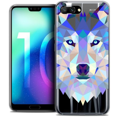 "Coque Crystal Gel Huawei Honor 10 (5.8"") Extra Fine Polygon Animals - Loup"